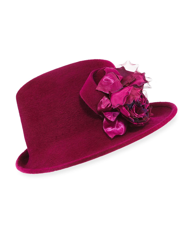Side Sweep Velour Hat w/ Rosette