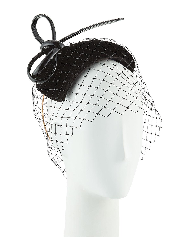 Hand-Blocked Velvet Veiled Calotte Fascinator Hat