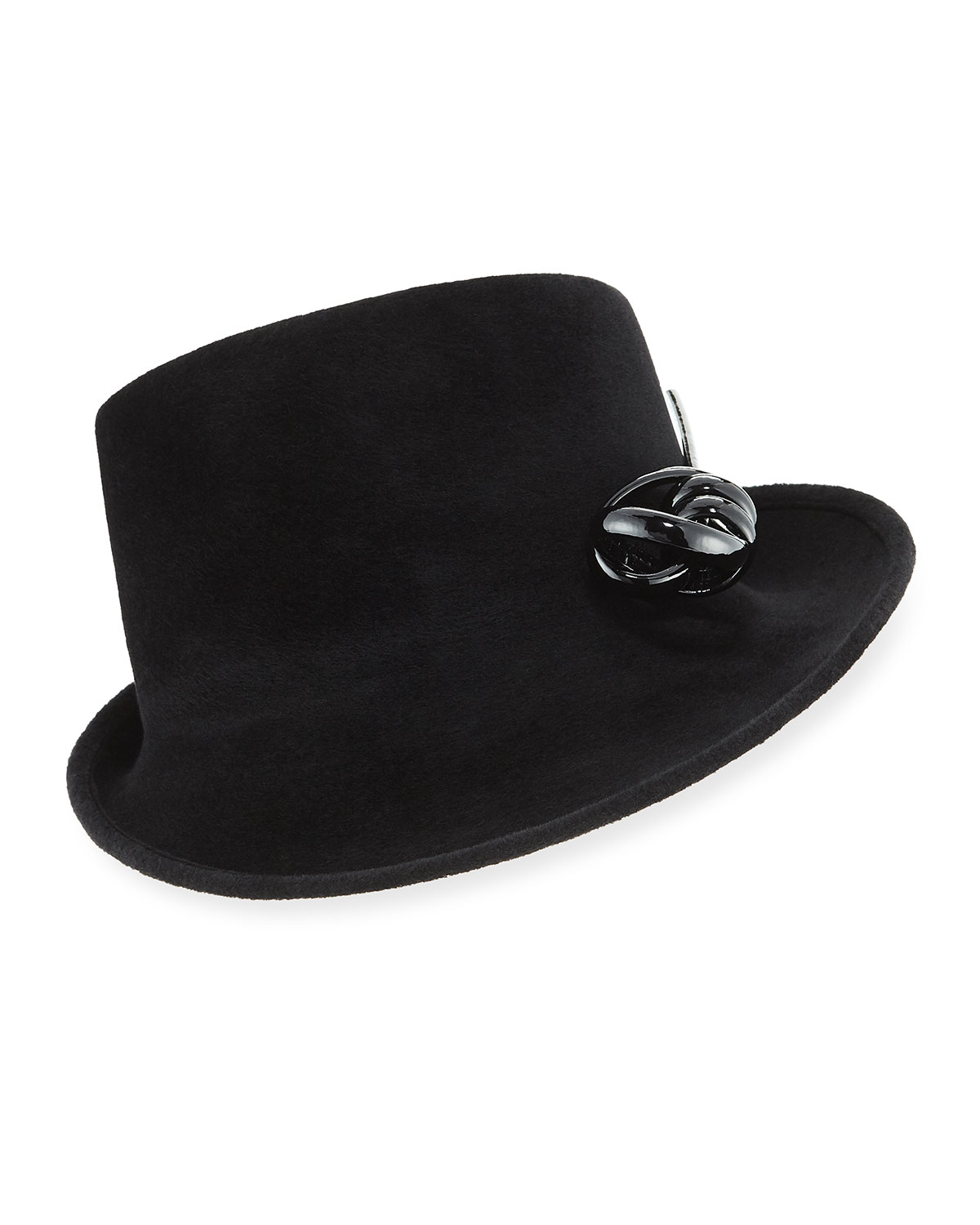 Side Sweep Velour Hat w/ Abstract Patent Leather Bow