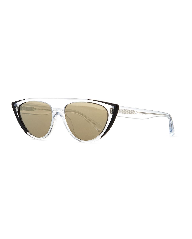 Miss J Clear Acetate Geometric Cat-Eye Sunglasses