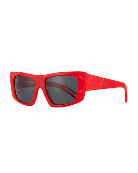 Alain Mikli Rectangle Monochromatic Acetate Sunglasses