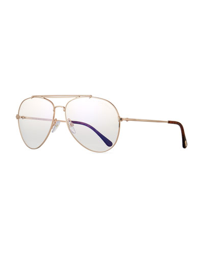 Metal Doubled-Brow Aviator Sunglasses, Rose-Tone