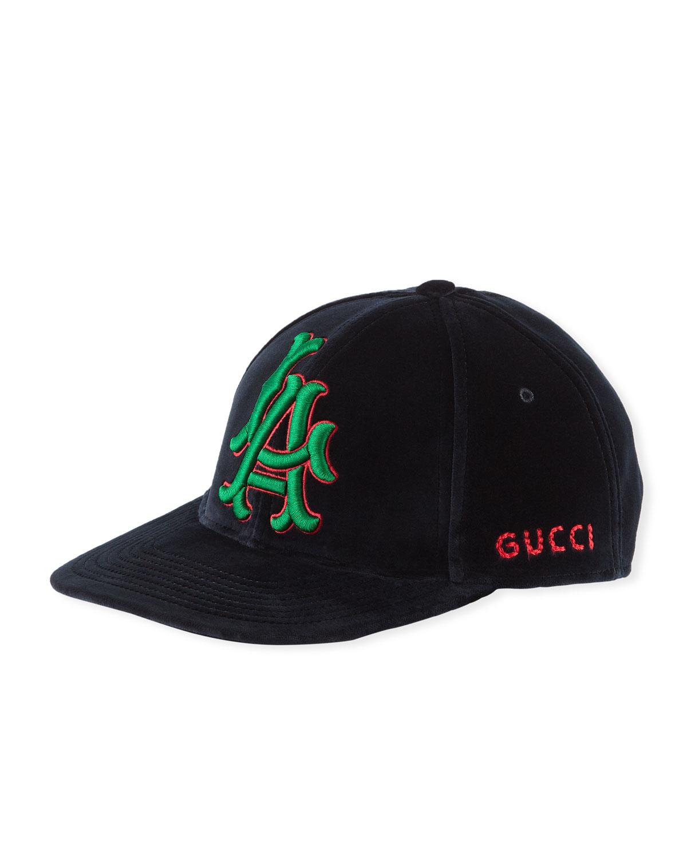 La Angeles Mlb Velvet Baseball Hat in Midnight Blue