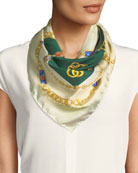 Gucci GG Jewels Silk Scarf