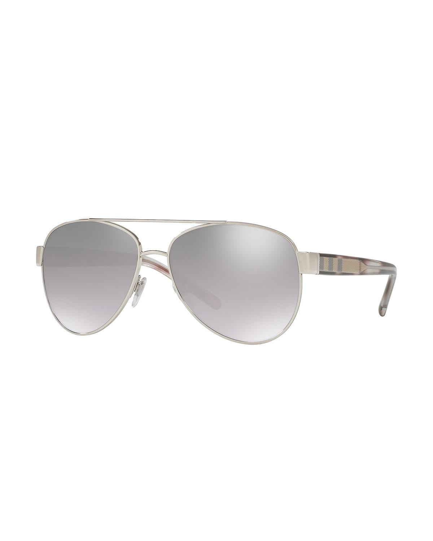 Acoustic Core Check-Temple Metal Aviator Sunglasses, Silvertone