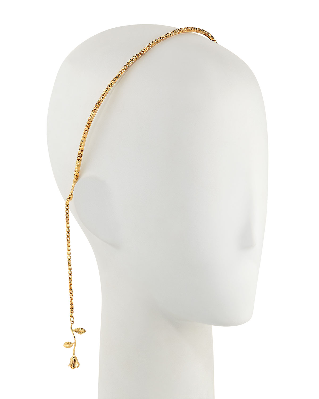 EPONA VALLEY Rosarium Falls Chain Headband in Gold