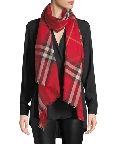 9486ff22468c Quick Look. Burberry · Gauze Giant Check Scarf. Available in Bright Red
