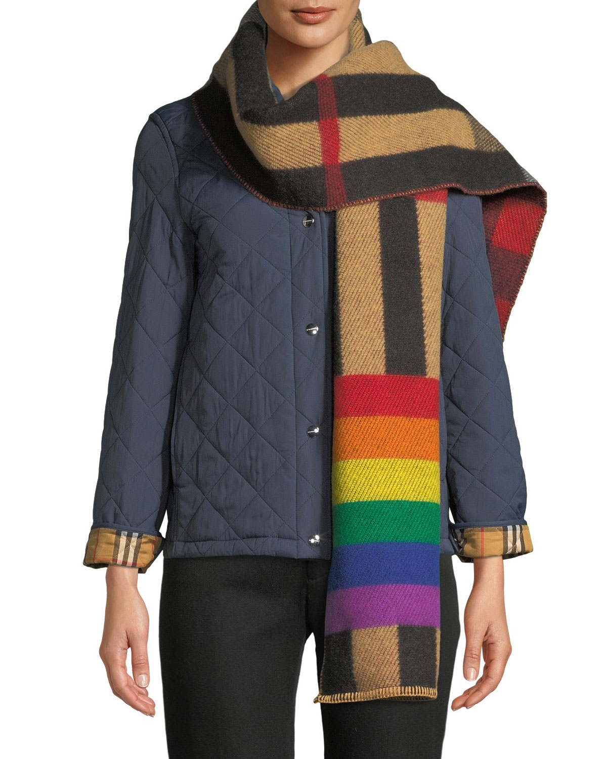 Burberry Scarves Rainbow Reversible Mega Check Cashmere Scarf