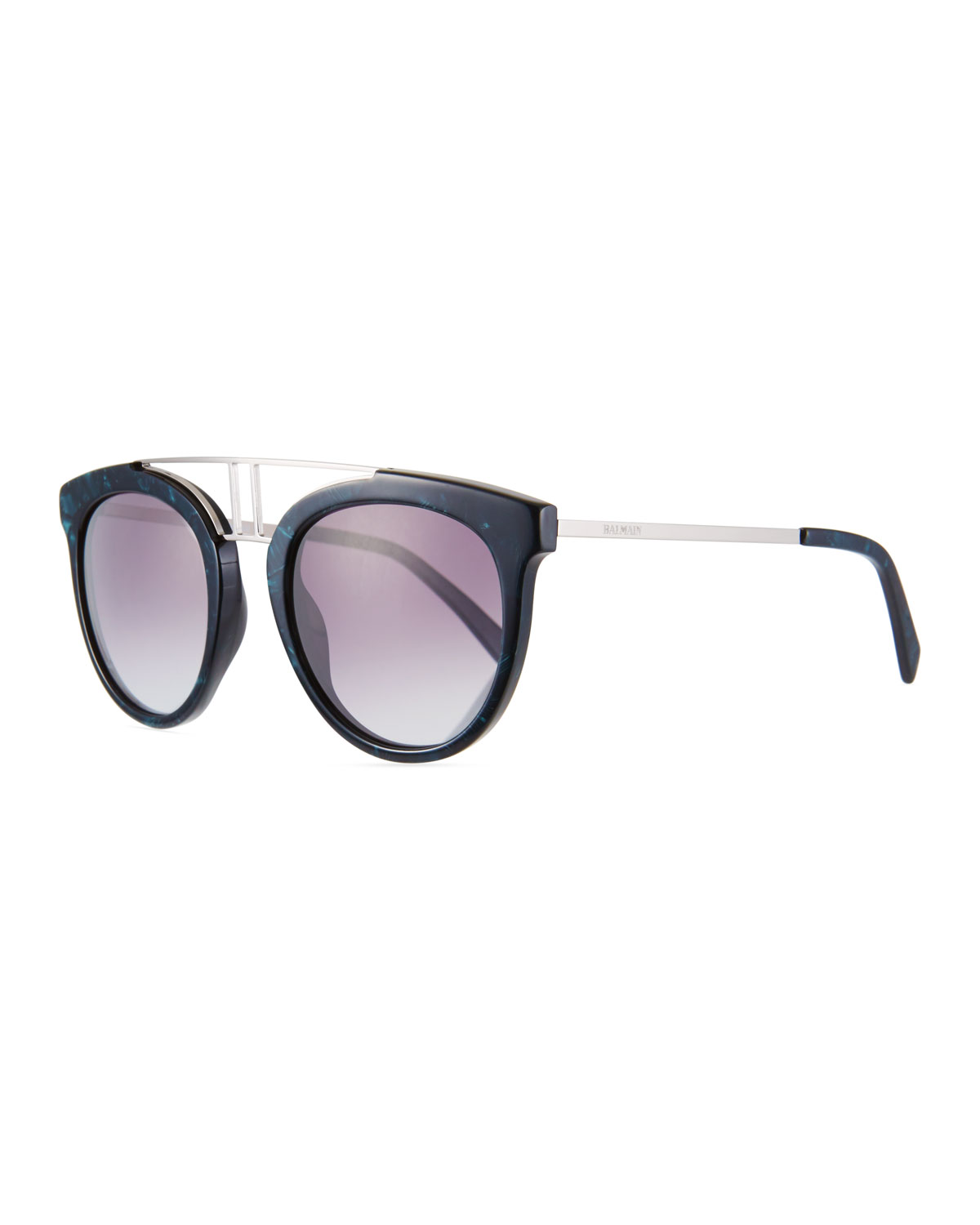 Round Gradient Acetate & Metal Double-Bridge Sunglasses