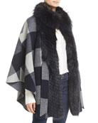 Belle Fare Belted Check Cape w/ Fur Collar