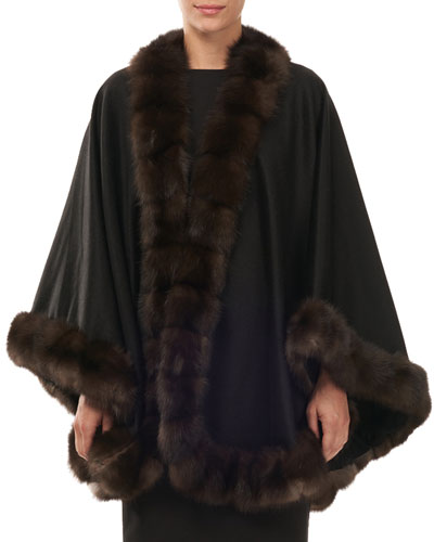 Cashmere Cape with Sable Fur Trim