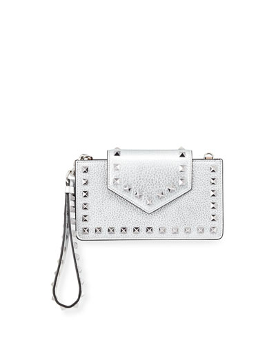 Rockstud Metallic Leather Flap Phone Case with Chain