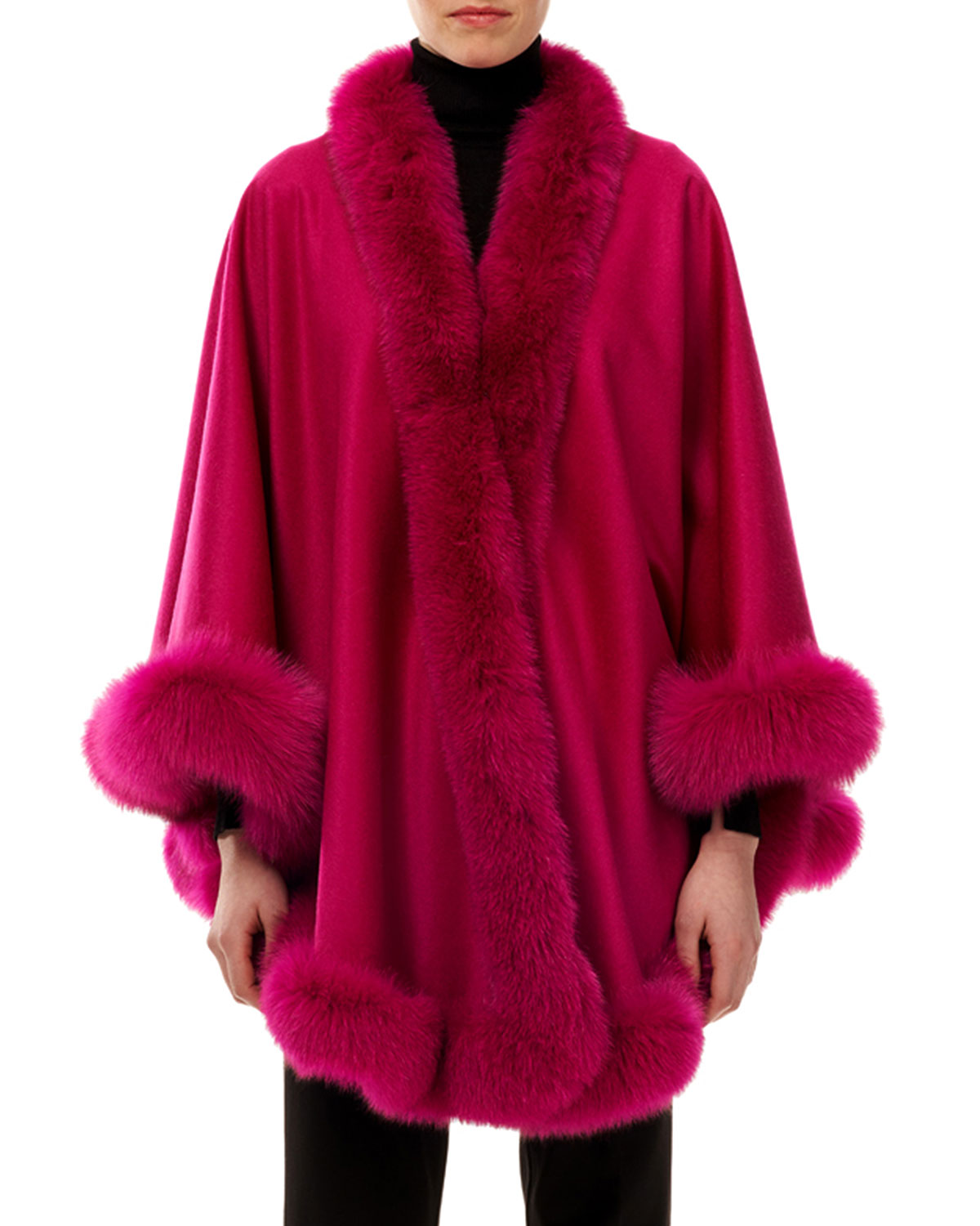 Cashmere Capelet with Fox Fur