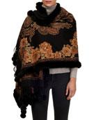Gorski Paisley & Floral Cashmere Stole w/ Fur