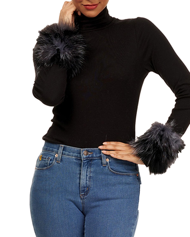 Knit Fox Fur Cuffs