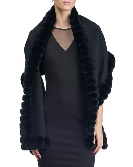 Gorski Fur-Trim Wool Stole
