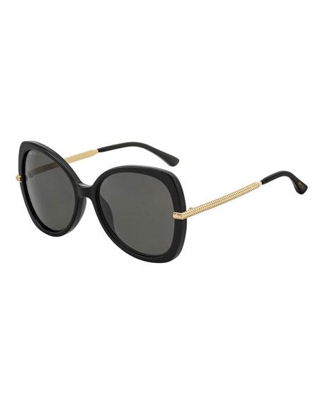 Jimmy Choo Cruz Acetate/Metal Butterfly Sunglasses