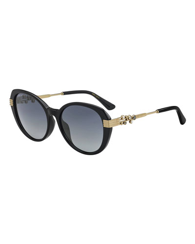 Orly Square Crystal-Trim Sunglasses