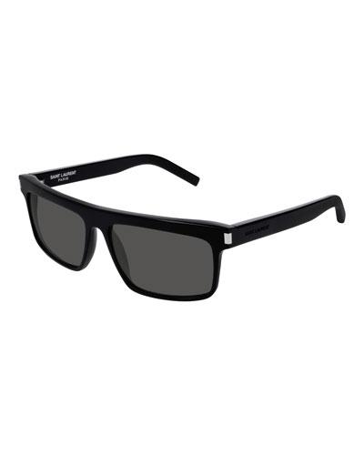 2055178e28 Quick Look. Saint Laurent · Flattop Rectangle Sunglasses. Available in Black