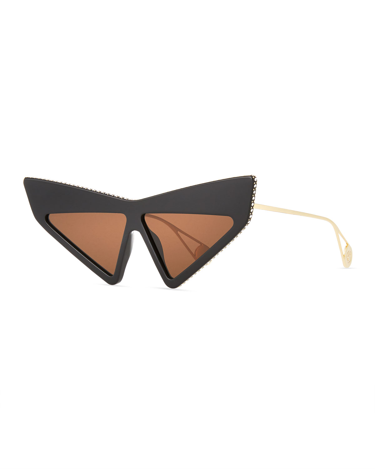 Crystal Studded Acetate Mask Cat-Eye Sunglasses in Black/Gold/Brown