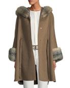 Loro Piana Charton Cashmere Fur-Trim Cape