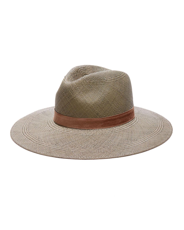 Angelica Straw Upturn Fedora Hat in Silver Sage