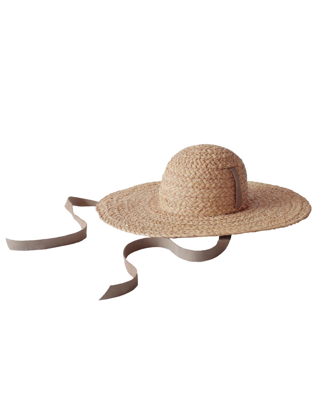 JANESSA LEONE Gaby Woven Straw Sun Hat W/ Chin Tie in Natural
