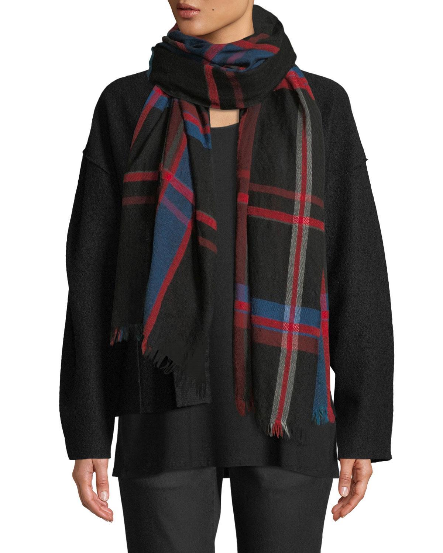 Eileen Fisher Chenille Plaid Wool/Cotton Scarf