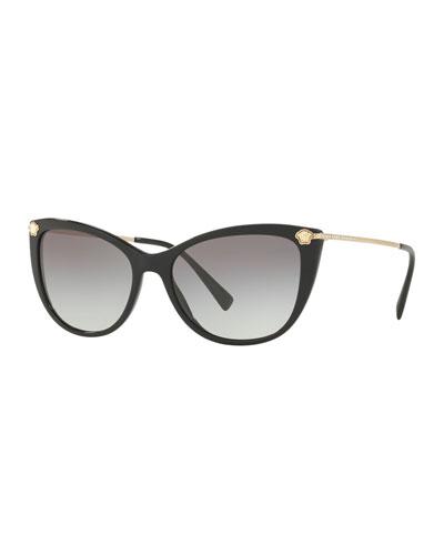 Gradient Cat-Eye Sunglasses w/ Crystal Trim
