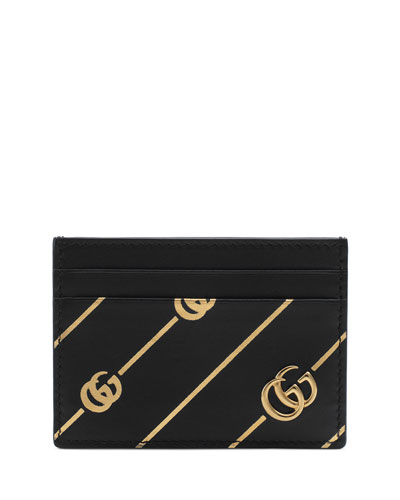 GG Diagonal-Stripe Leather Card Case