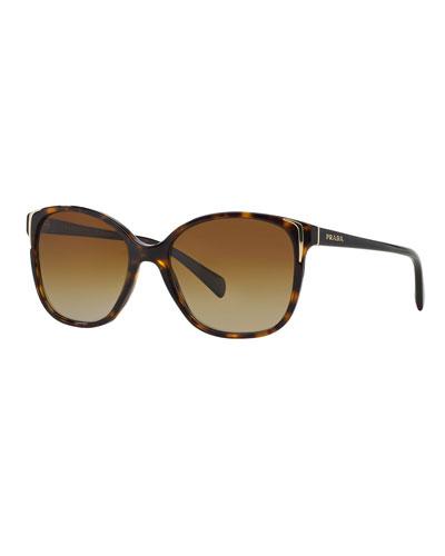 Square Gradient Arrow-Edge Sunglasses, Black