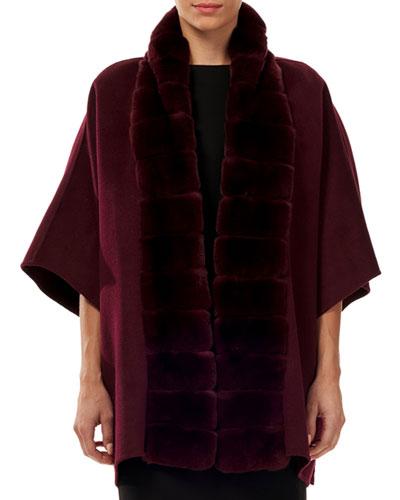 Wool-Blend Cape w/ Fur Trim