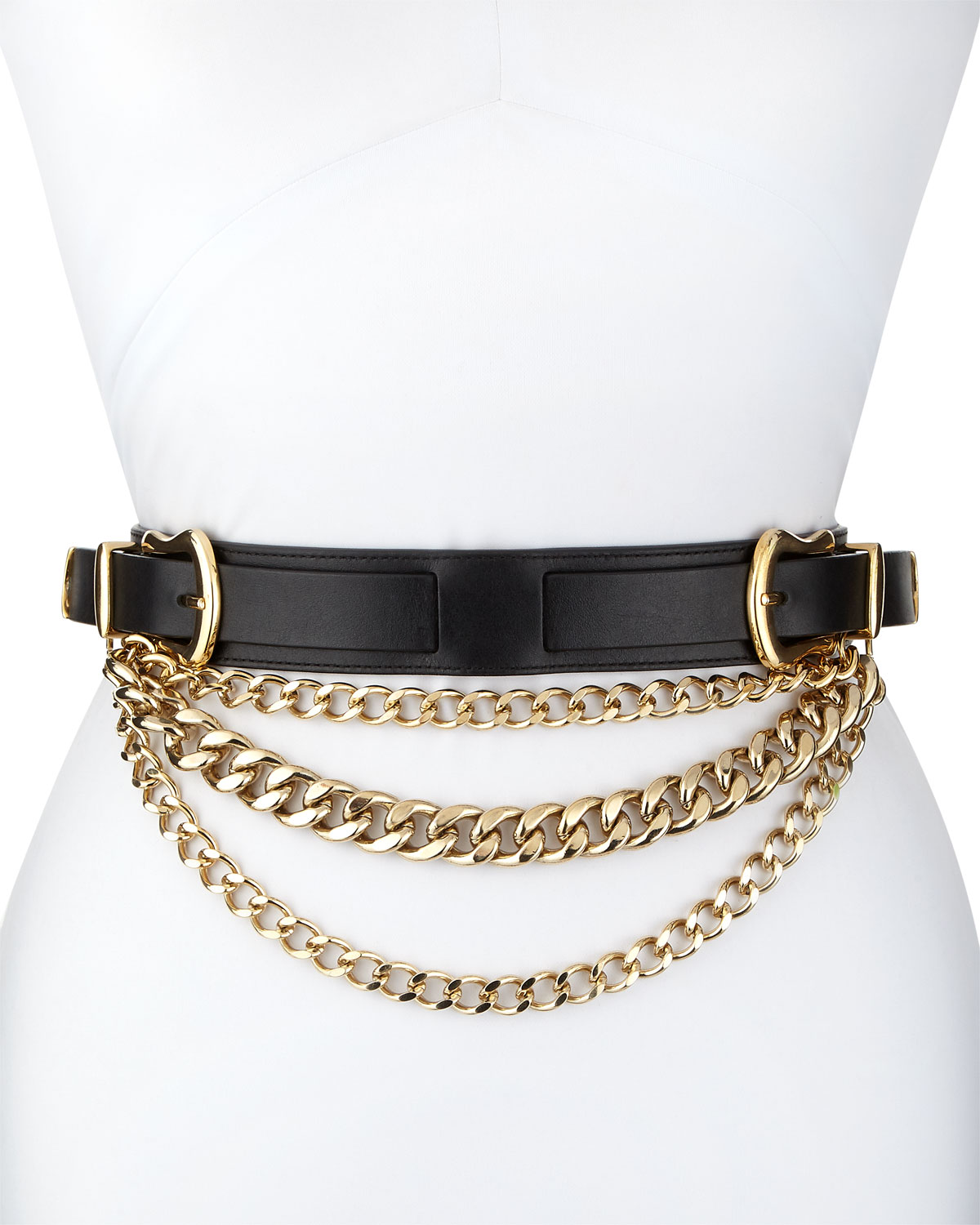 Linette Vanchetta Double-Buckle Leather Belt With Chains in Black/Gold