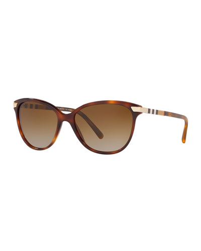 Check-Trim Cat-Eye Sunglasses