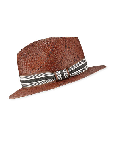 25e3a56e8d44b Quick Look. Brunello Cucinelli · Straw Fedora Hat with Grosgrain Band