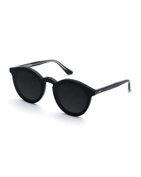 KREWE Collins Round Monochromatic Acetate Sunglasses w/ Nylon Overlay Lens