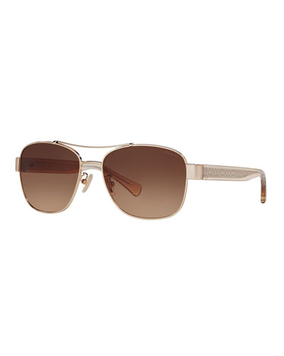 Metal & Acetate Aviator Sunglasses w/ Logo Arms