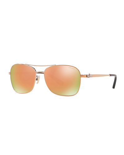 Mirrored Metal Aviator Sunglasses w/ 3D Stagecoach Detail