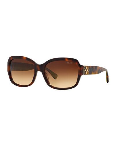 Square Acetate Sunglasses w/ Logo Imprint Arms