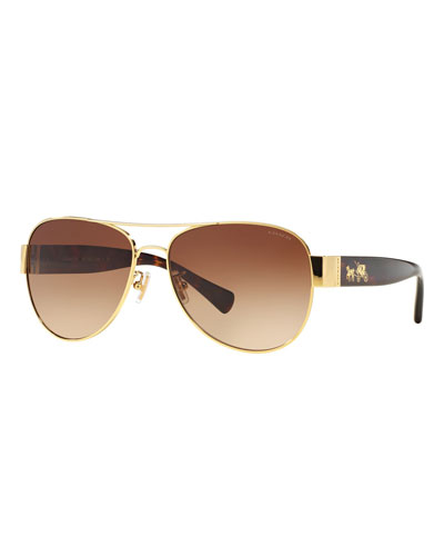 Metal & Acetate Aviator Sunglasses