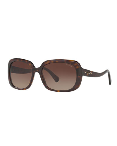 Rectangle Acetate Sunglasses w/ Curved Arms