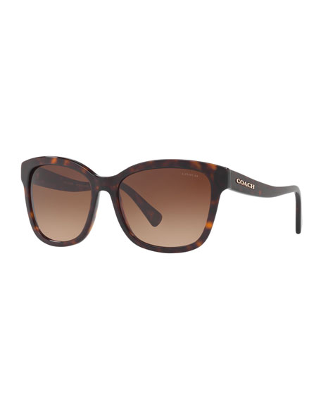 Coach Square Gradient Sunglasses w/ Curved Arms