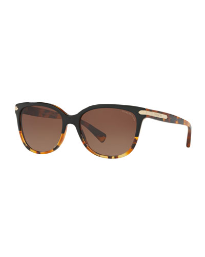 Cat-Eye Sunglasses w/ Logo Plate Temples