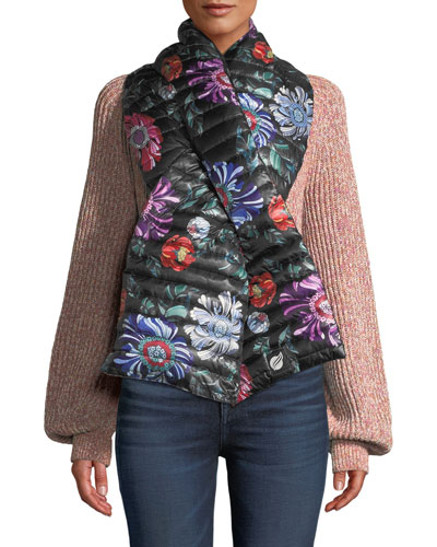 Reversible Floral Pull-Through Puffer Scarf