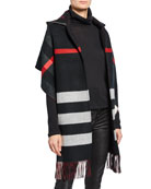 Burberry Hooded Check Fringe Scarf