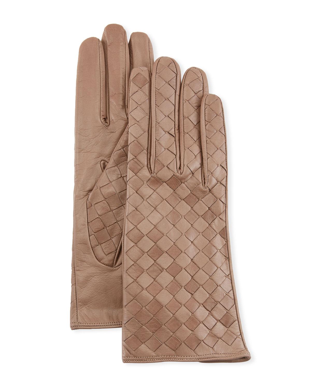 Woven Lambskin Leather Gloves