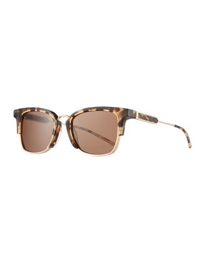Square Acetate & Titanium Logo-Engraved Sunglasses