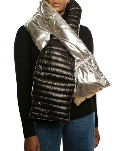 Two-Tone Puffer Pull-Through Scarf
