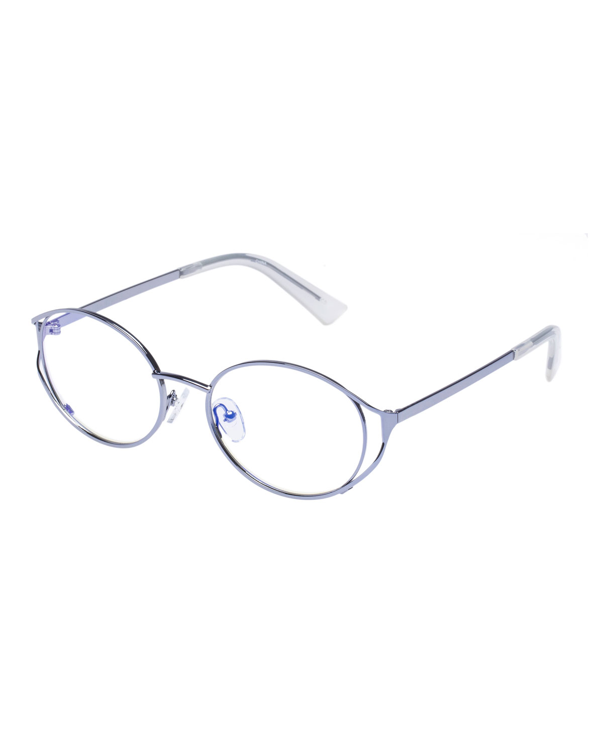 Spatula Oval Blue Block Optical Frames in Silver