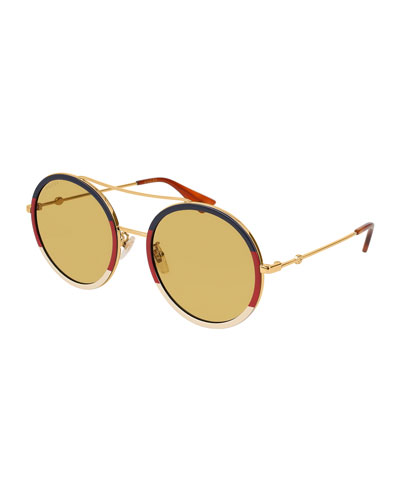 bf1832c4d Quick Look. Gucci · Round Sylvie Web Sunglasses. Available in Gold ...
